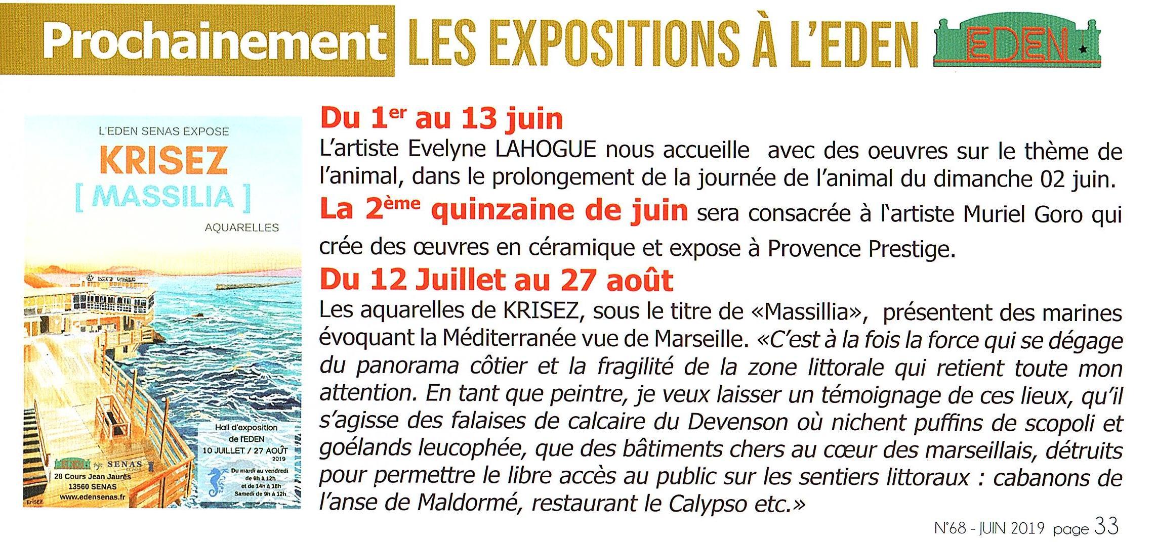 Sénas Mag n°68 Trimestriel de Juin 2019. Page 33