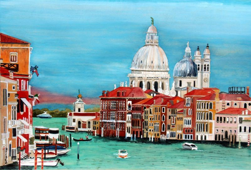 Le Grand Canal. Venise. Réalisé sur papier Paint On, teinte neutre.
